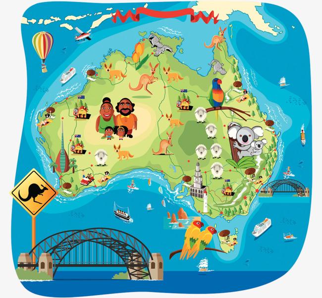 澳大利亚旅游卡通手绘地图