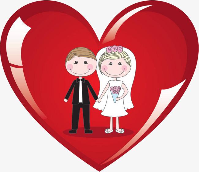 卡通爱心结婚图片