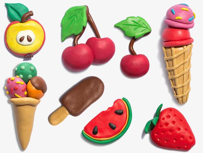 橡皮泥水果冰淇淋图案