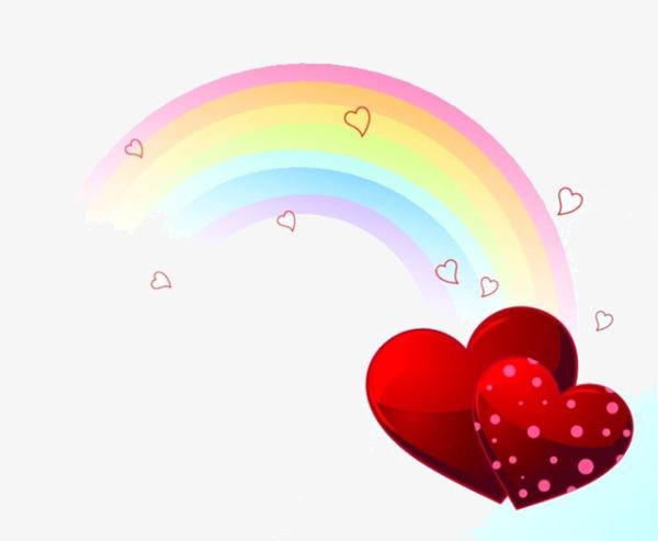 卡通彩虹爱心图片