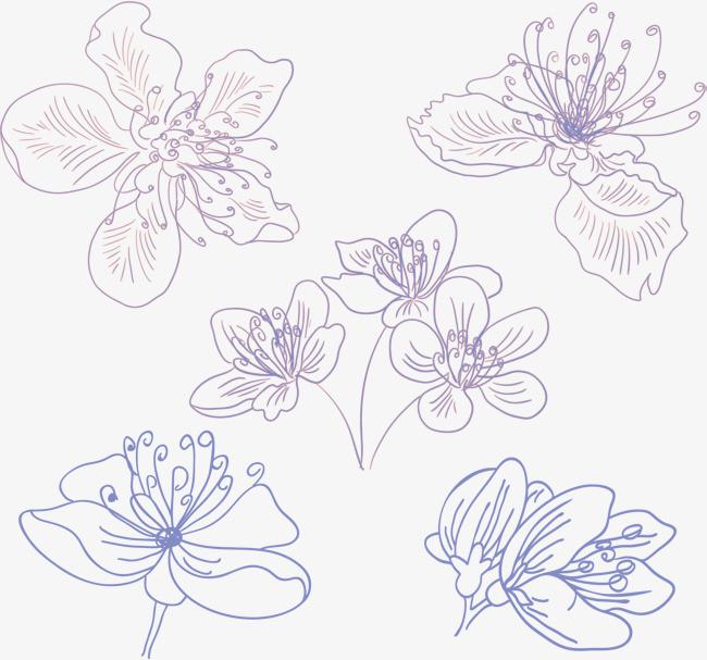 紫色手绘樱花