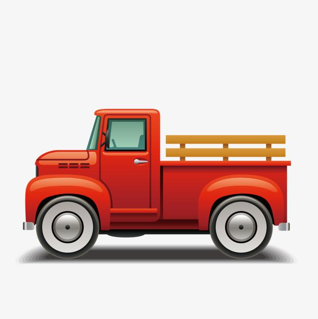 手绘红色卡车