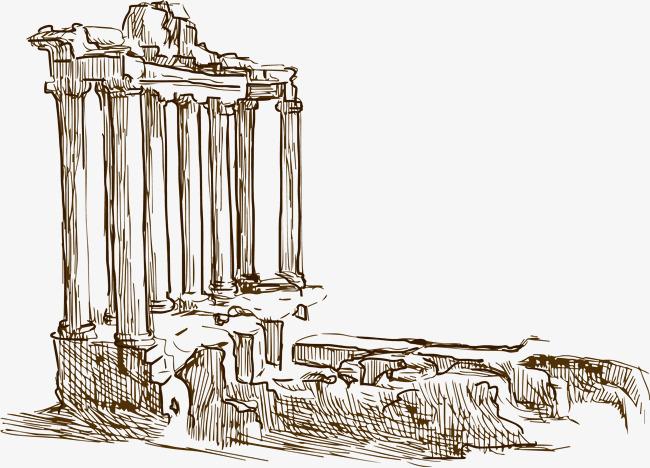 手绘插图矢量素材  手绘插图  手绘城市  比萨斜塔