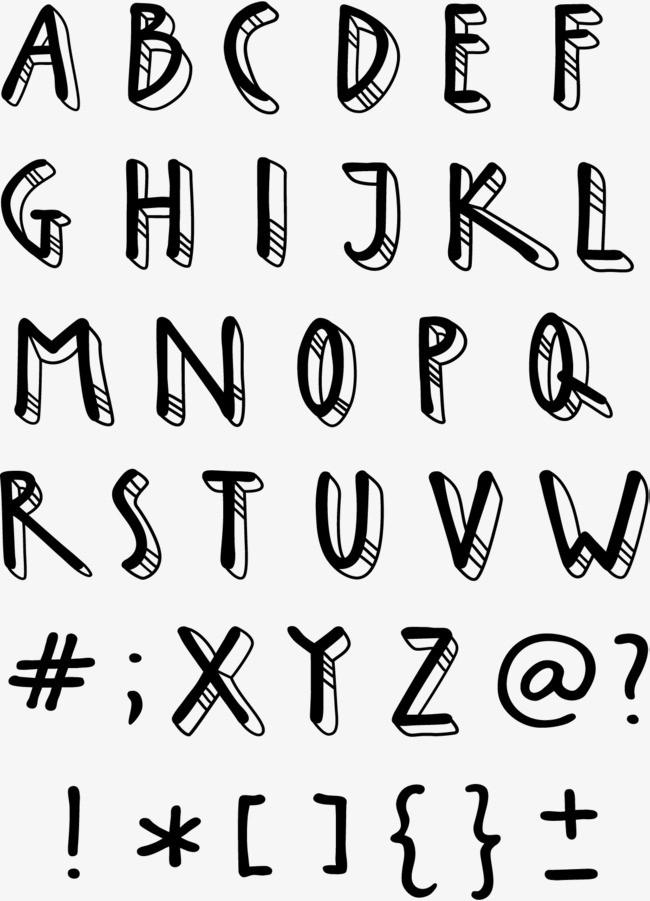 手绘英文字母艺术字