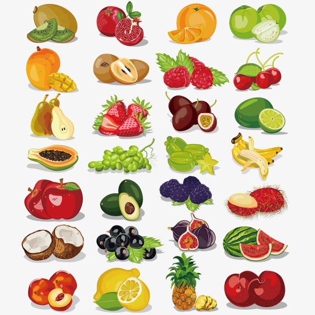 切开的各种水果图片