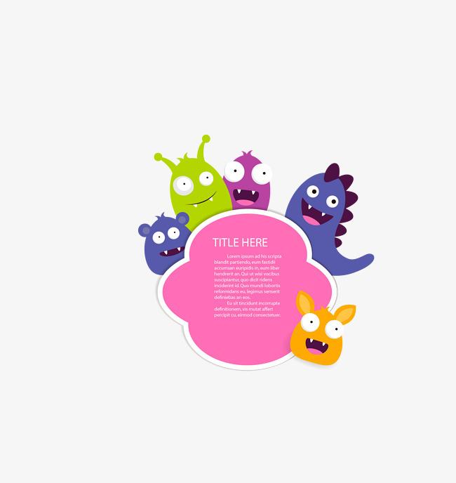 矢量彩色卡通小动物元素标签图片