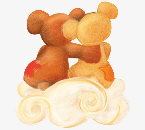 可爱小熊背影png素材