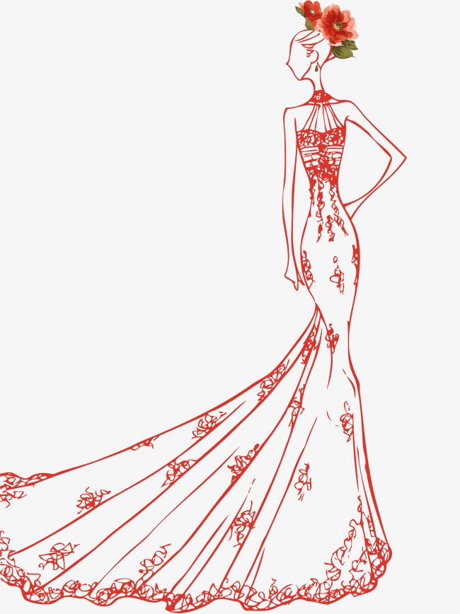 手绘女生婚纱素材图片免费下载_卡通好感手绘自己高清有对美女图片