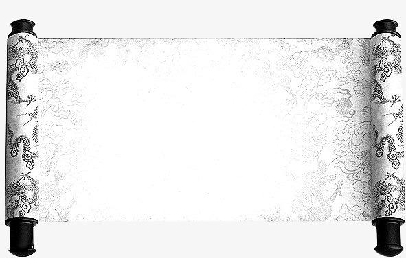 黑色龙图案卷轴书卷素材