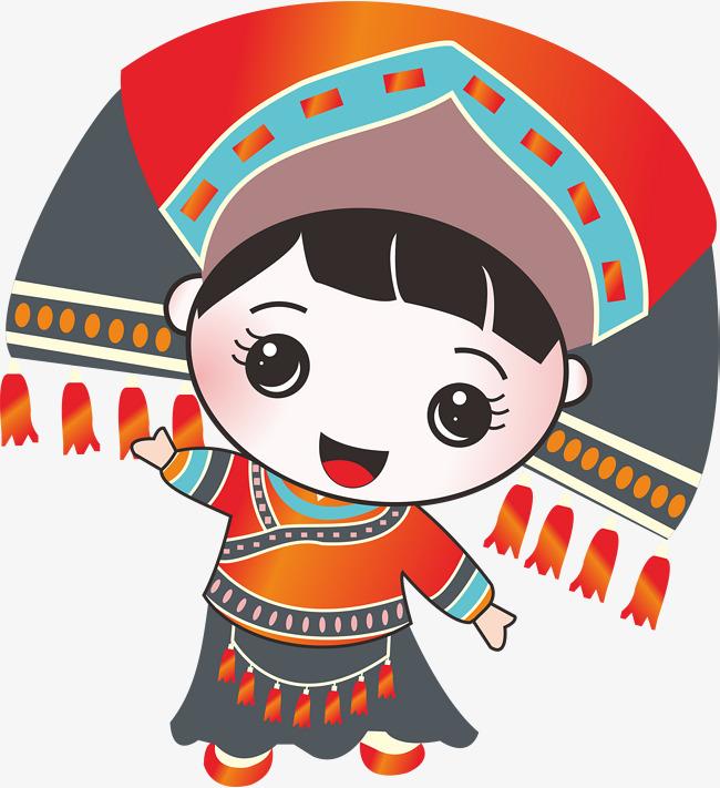 卡通壮族小姑娘矢量图素材图片免费下载 高清卡通手绘psd 千库网 图片编号7286116