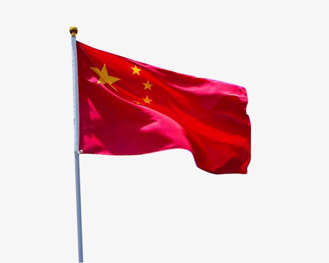 红色五星红旗飘扬图片
