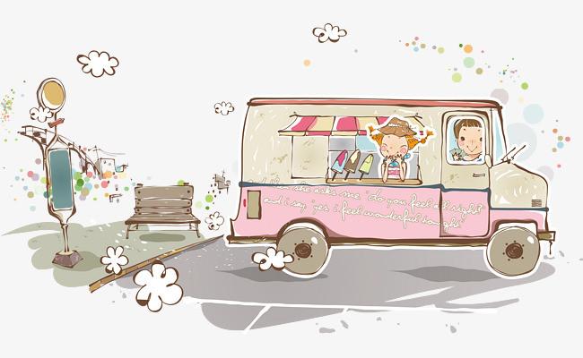 卡通冰淇淋餐车图片