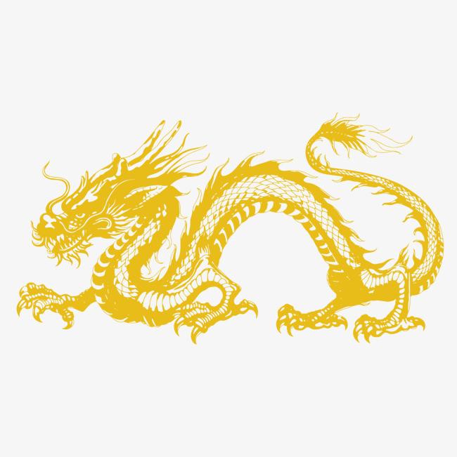 手绘中国龙矢量图