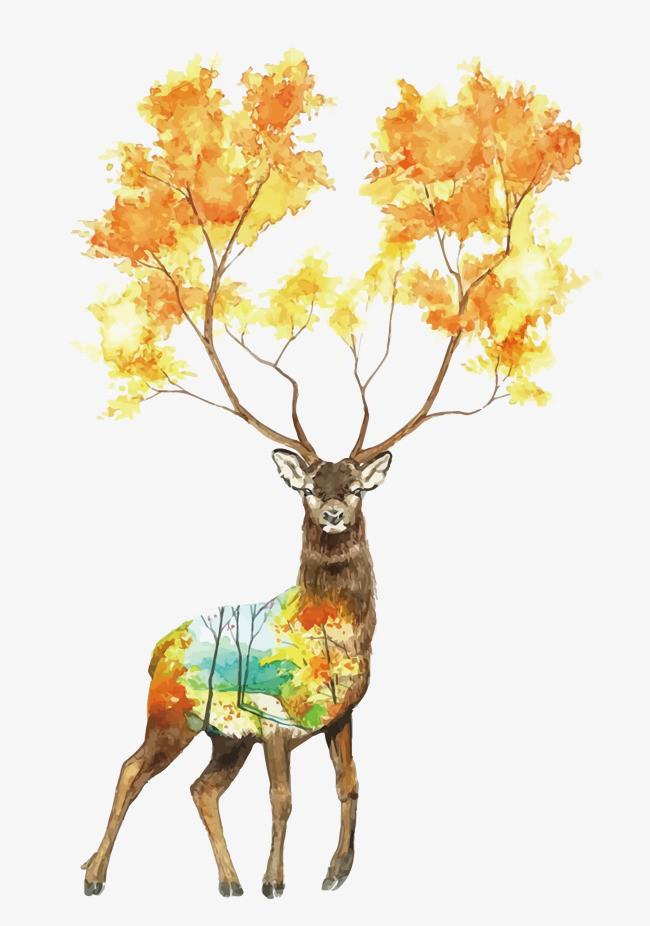 矢量手绘鹿