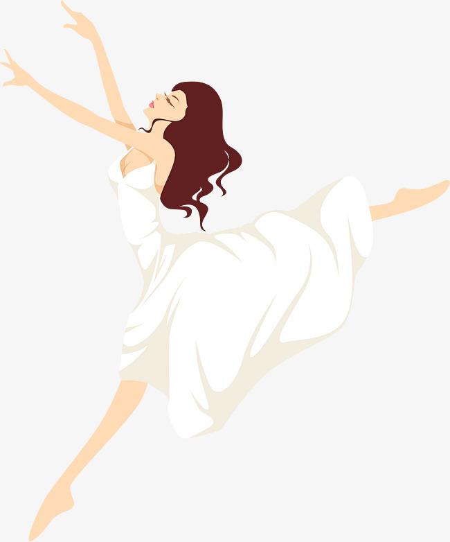 卡通手绘跳舞女神