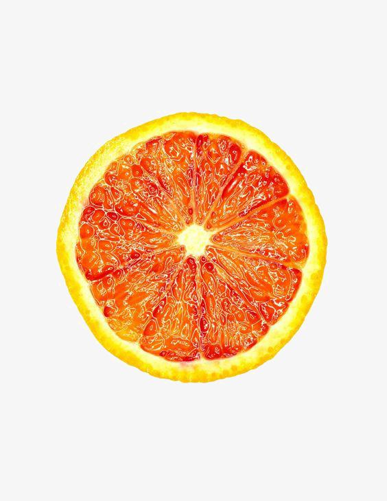 手绘水彩红心橙子