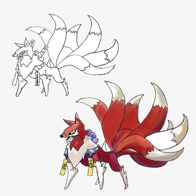 九尾狐的手绘图片素材