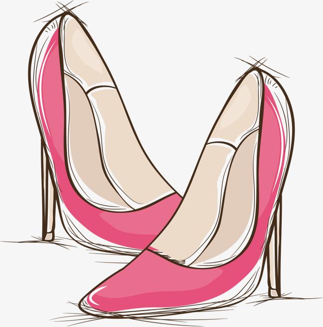 红色手绘高跟鞋