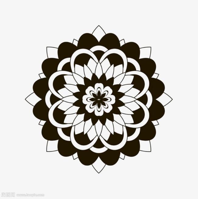 黑白圆形对称图案