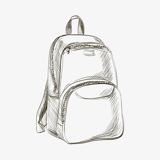 手绘双肩包平面设计手绘包双肩包背包矢量素材银色书包手绘风少女时