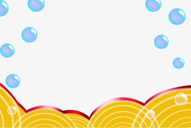 泡泡边框黄色波浪底边背景