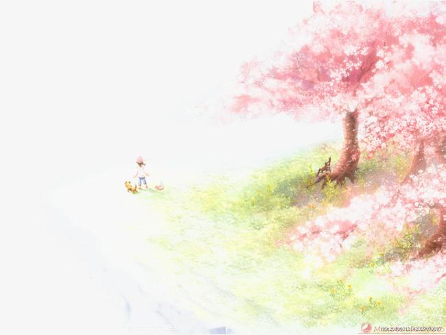 樱花树林卡通手绘