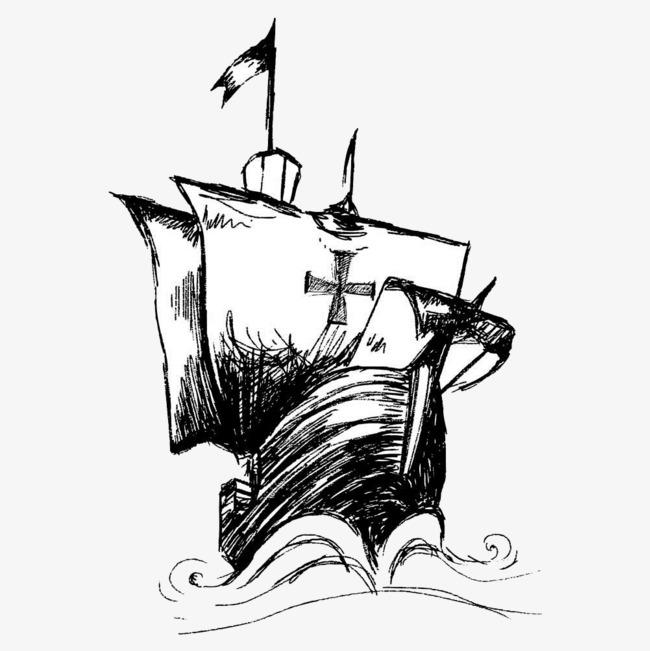帆船 扬帆 航海 起航 手绘 黑白 杨帆             此素材是90设计网