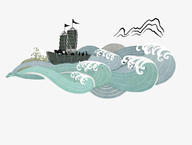 手绘海浪帆船