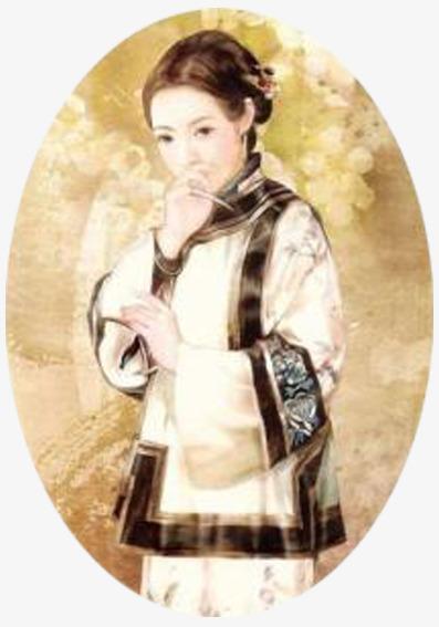 手绘古代满族美女png素材-90设计