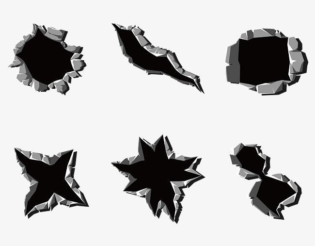 矢量立体钢铁金属弹孔痕迹png素材-90设计