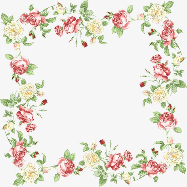 手绘花卉边框