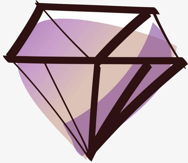 手绘紫色钻石