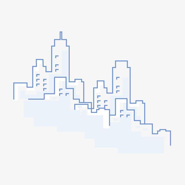 手绘线描城市建筑素材图片免费下载 高清装饰图案psd 千库网 图片编