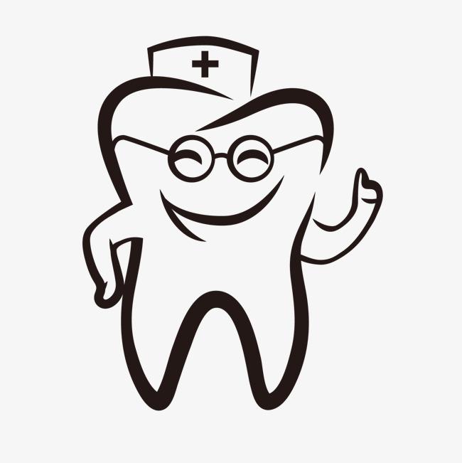手绘可爱卡通牙齿医生