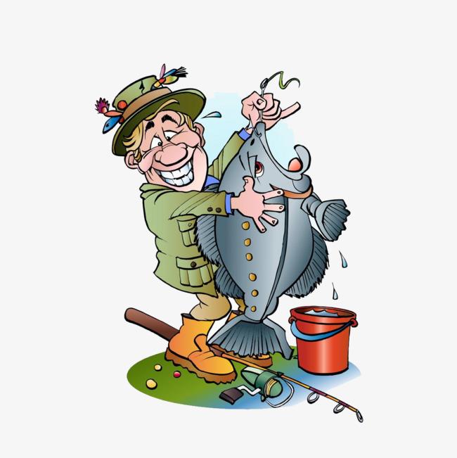 钓鱼卡通动漫人物白底免抠png素材-90设计