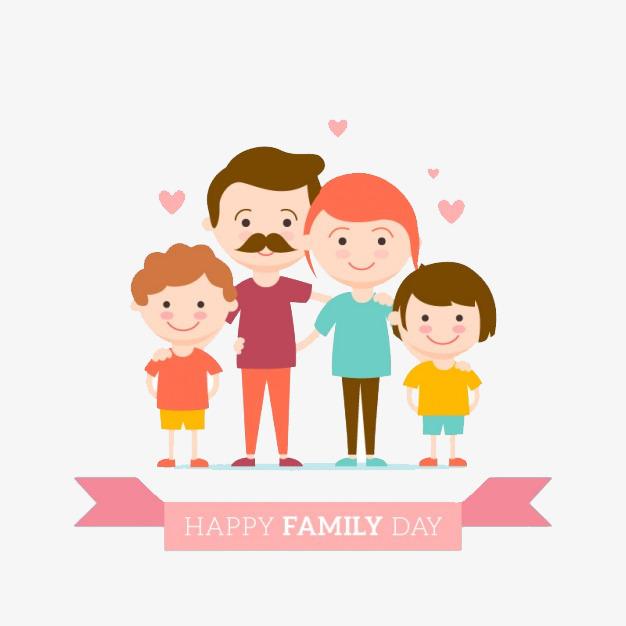 卡通全家幸福插画
