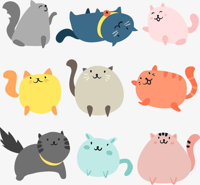 矢量手绘卡通猫