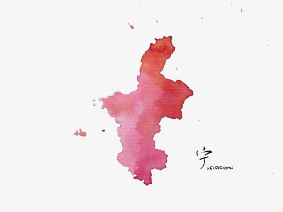 宁夏回族自治区水墨地图