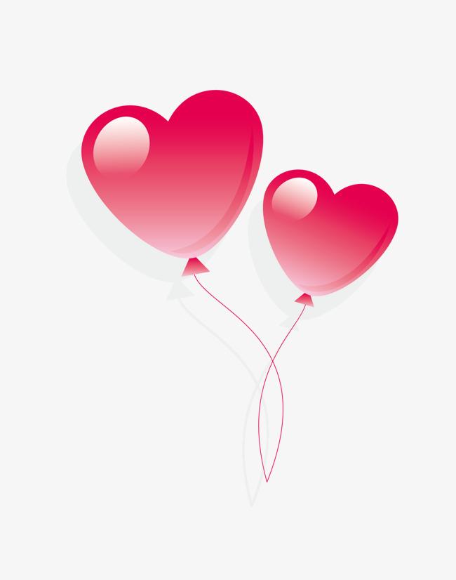卡通粉色情人节心形气球图片