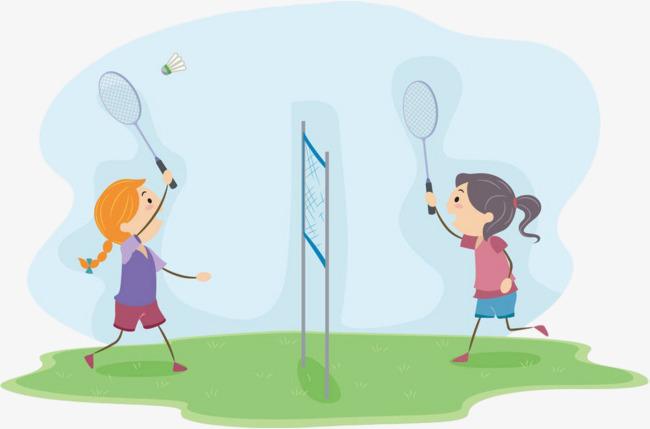 手绘卡通羽毛球运动