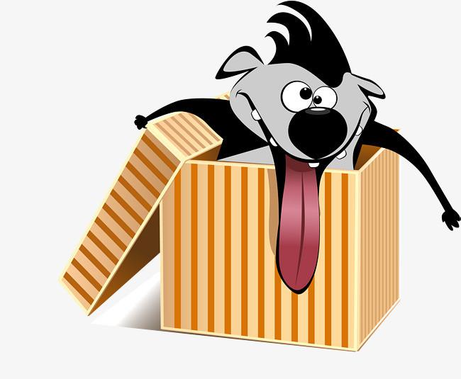 在纸箱中搞怪的动物矢量图