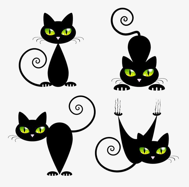 黑色卡通手绘猫【高清png素材】-90设计