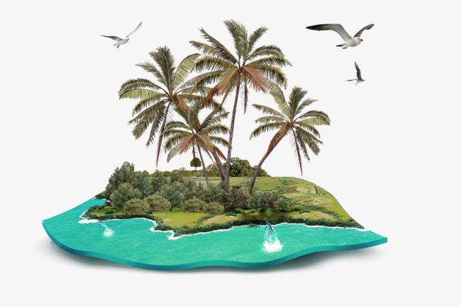 椰子树海岛风景装饰图案【高清装饰元素png素材】-90