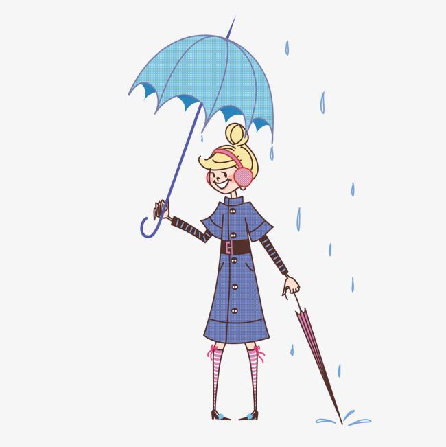撑雨伞的女孩素材图片免费下载_高清卡通手绘