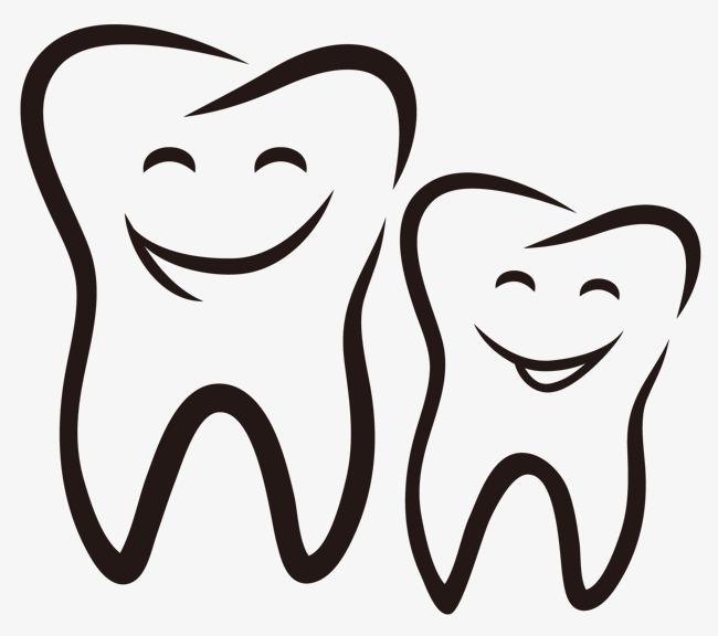 手绘可爱卡通笑脸牙齿