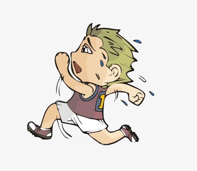 奔跑着流汗的小男孩儿