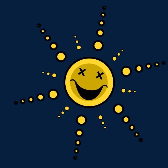 卡通太阳头像表情矢量图图片