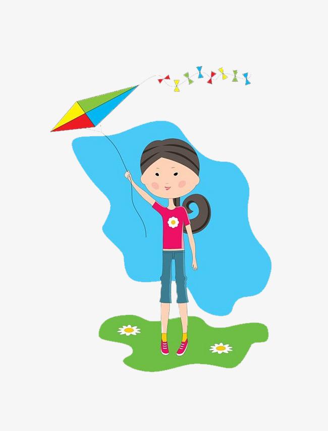 卡通可爱放风筝女孩儿
