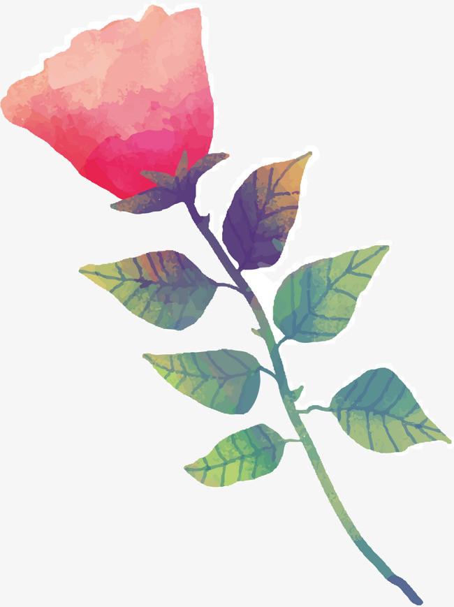 手绘一支红玫瑰花矢量素材