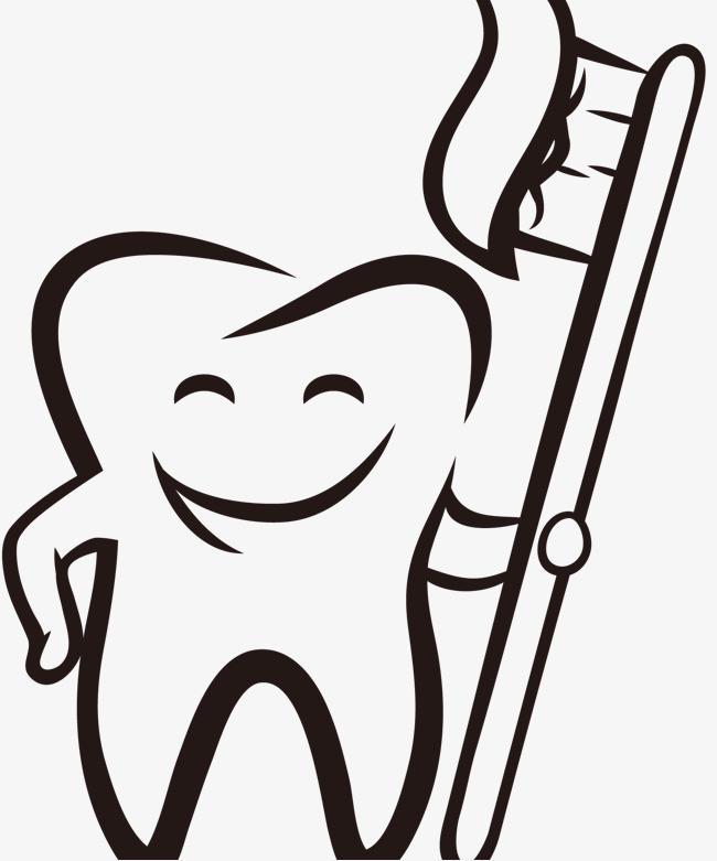 手绘卡通笑脸牙齿